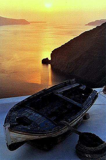 Soleil couchant à Santorin-Cyclades-Grèce