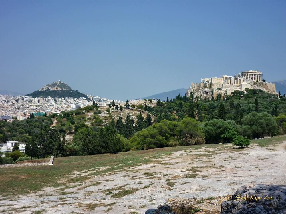 Monuments d'Athènes-vue depuis la colline du Pnyx