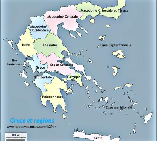 Carte grece des regions