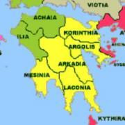 Peloponnese carte regions