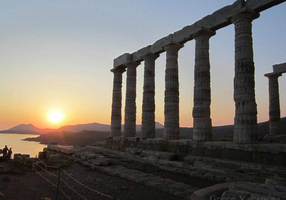 Temple de Poséidon - Soleil couchant à Sounio - Grèce