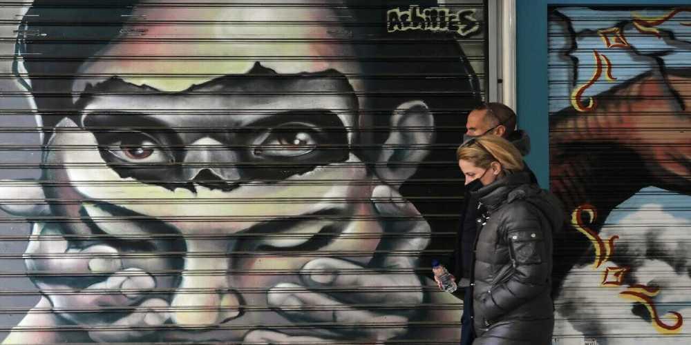 Street art achile covid